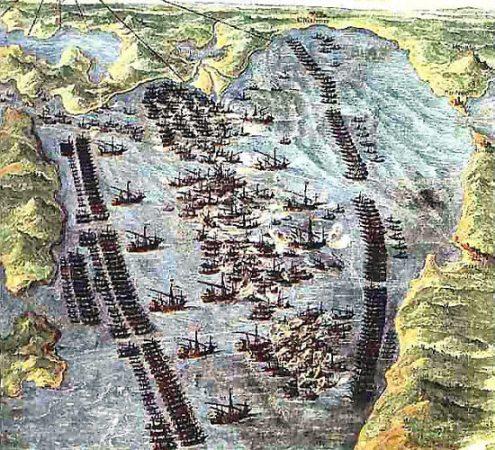 Formación de las flotas en Lepanto