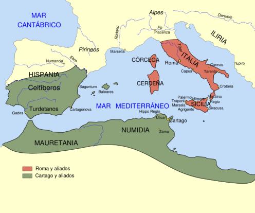 Mapa de Cartago y Roma
