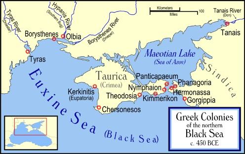 Mapa de las colonias en el Mar Negro